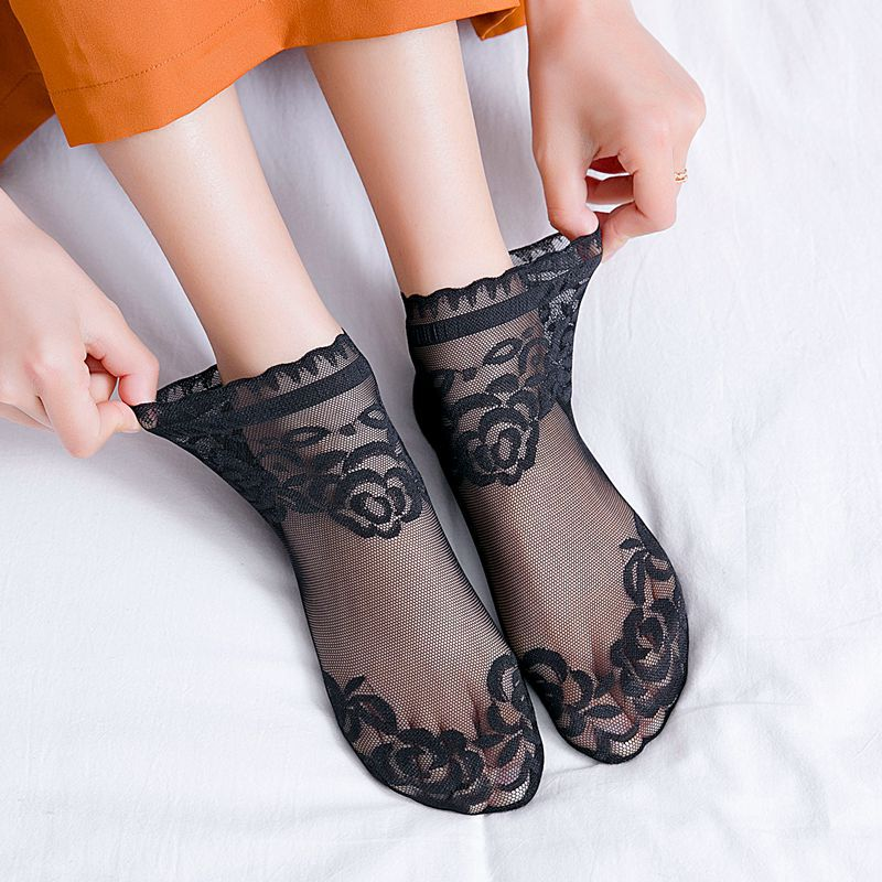 1 пара, женские модные носки, весна-лето 2019, сетчатые хлопковые Дышащие носки, однотонные кружевные тонкие повседневные женские модные носки