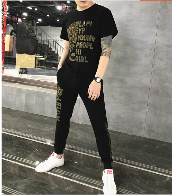 Fashion Streetwear Sportsuit And Tee Shirt Set Mens T Shirt And  Pants Men Summer Tracksuit Men Casual Diamond