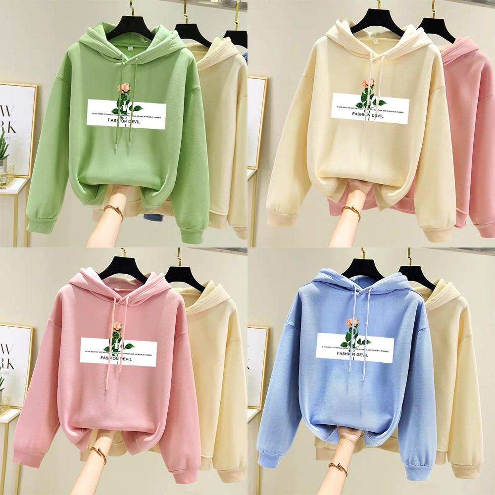 Women Lovely Long Sleeve Pullover Hoodie Sweatshirt Tops Girls Autumn Winter Warm Casual Cotton Loose Sweat Hooded Shirt M-2XL