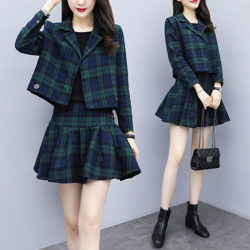 2019 Autumn And Winter New Style Korean-style Students British Style Plaid Suit Pleated Skirt WOMEN'S Suit