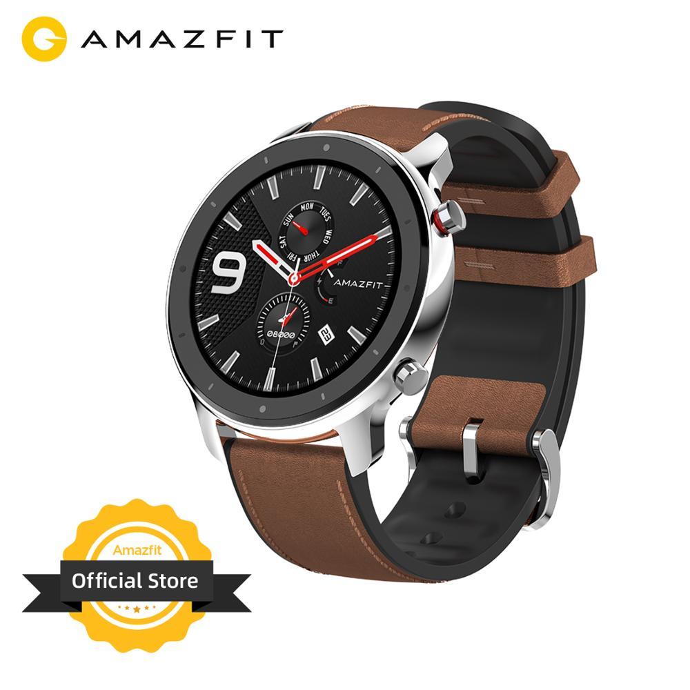Versão global amazfit gtr 47mm relógio inteligente 5atm à prova d24 água smartwatch 24 dias bateria controle de música pulseira de silicone couro