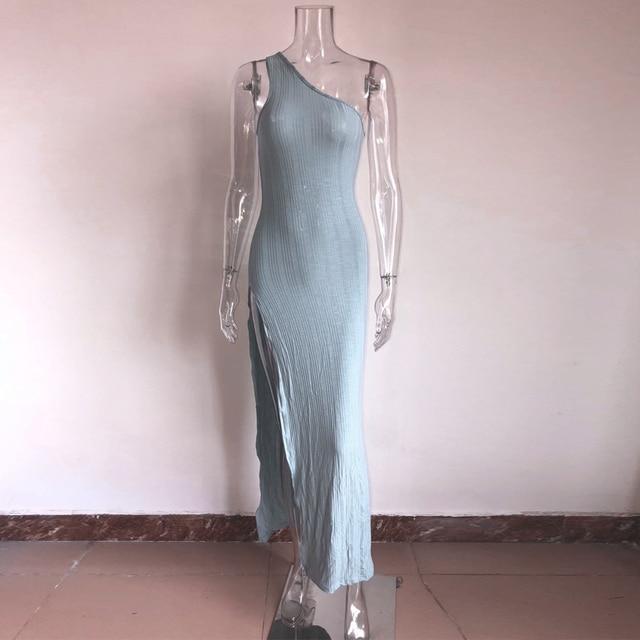 Kylie jenner robe vestidos 2019 Hot sale One Shoulder Split Summer ribbed Dress Women Slim Fit Sexy maxi Long Dress 4