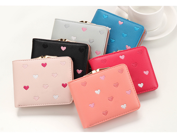 Japanese Multi-function Women's Mini Wallet Candy Color Heart-shaped Embroidery Women Short Wallet Cute Coin Purse Card Package
