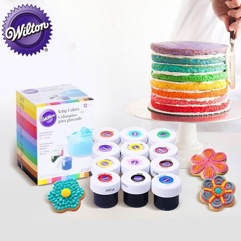 Wilton Icing Color Food Color 12 Pieces Gel-Based - Wilton Food Coloring  Additive for Icing Fondant Cake Batter Cake Color Tools