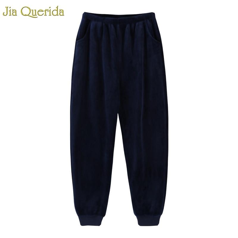 Men Sleepwear Flannel Pajamas Pants Winter Lounge Pajama Pants Elastic Waist Two Pocket Quality Coay Sleeping Bottoms Men Warm