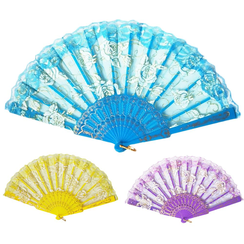 Chinese/Spanish Style Dance Wedding Party Lace Silk Folding Hand Held Flower Fan For Gift For Souvenir