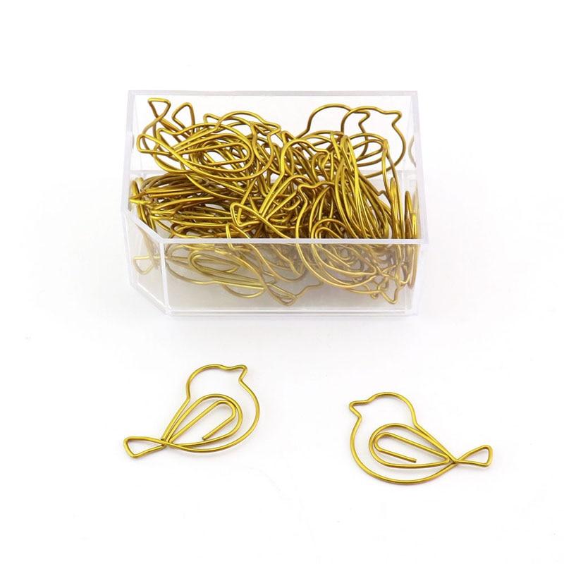 15pcs/box Creative Metal Paper Clips Binder Clip Imitation Gold Bird Bookmark Memo Clips Office School Stationery Supplies