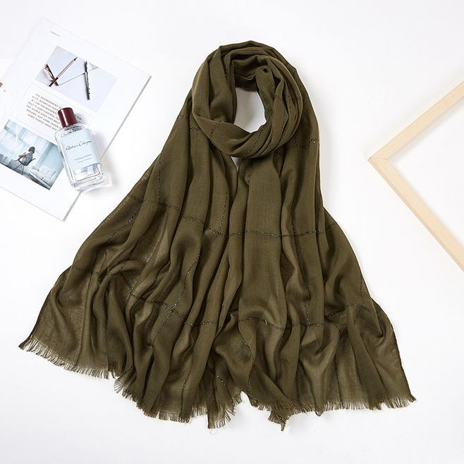 Fashionable Viscose Cotton Muslim Hijab Scarf Women Headband Glitter Stripe Fringe Long Shawl Arab Pashmina Islamic Head Scarf