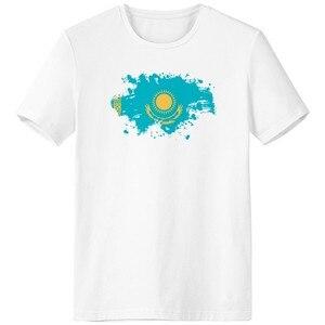 Государственный флаг Казахстана Азия страна симбо знак узор кисть вырез лодочкой белая футболка безрукавка удобные спортивные футболки по...