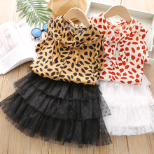2-7T Kids Skirt Set Printed Sleeveless Top+mesh Tulle Skirt Sets Clothing Sets Kid Leopard Clothes Girl Thin Summer Outfit Set
