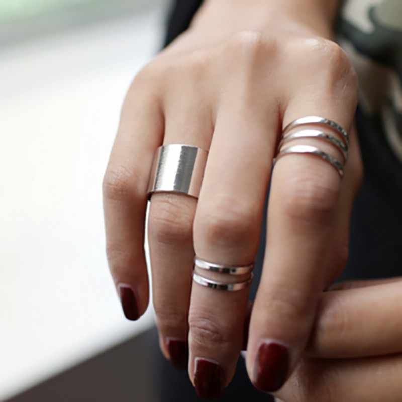 Punk Cool Women Fashion Charming Stacking Joint Rings 3PCS Finger Over The Midi Tip Above Knuckle Open Ring Metal