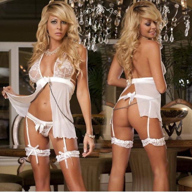 Women Sexy Lace Lingerie Bustier Corset Babydoll Porno Sex Underwear Dress Transparent Girdle Waist Erotic Lingerie Costumes 2