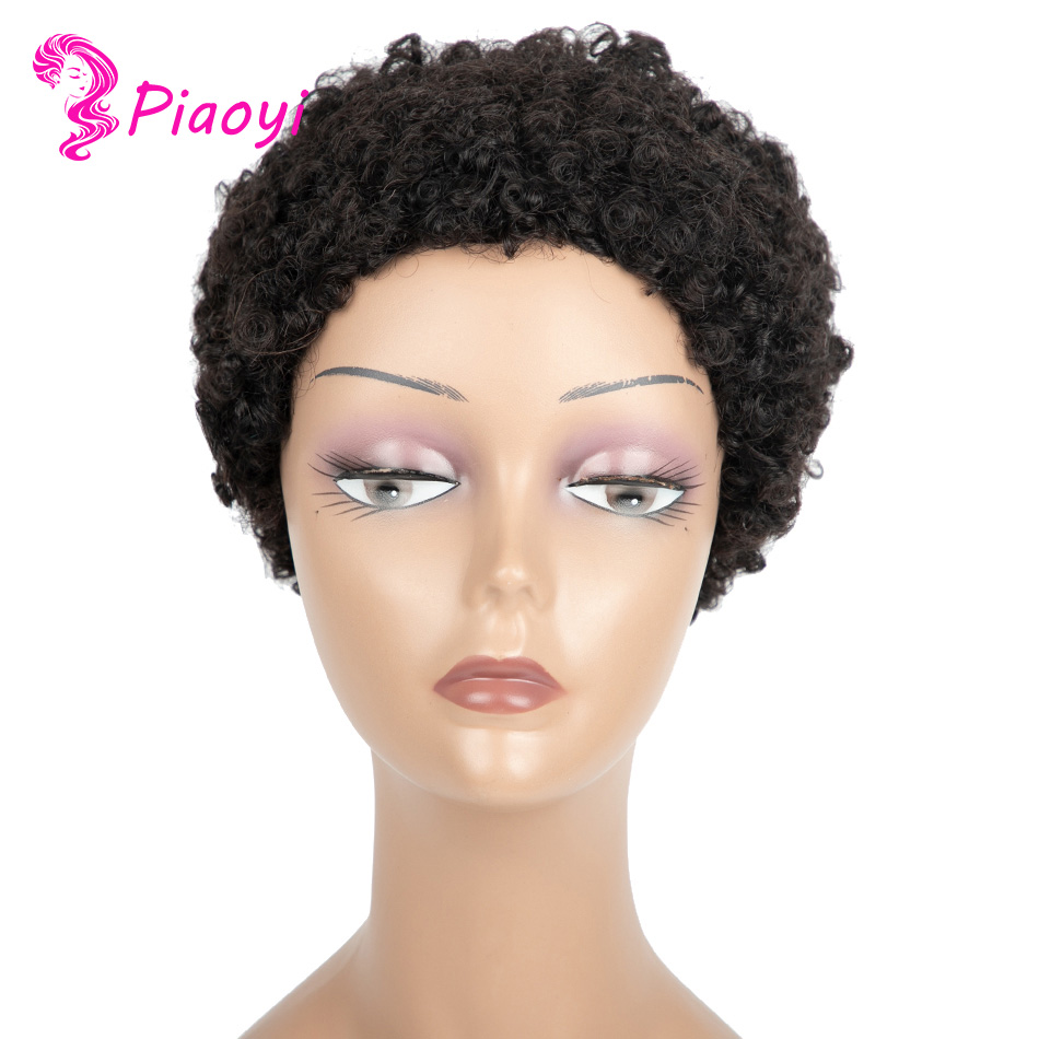 negras perucas de corte pixie curto 100%