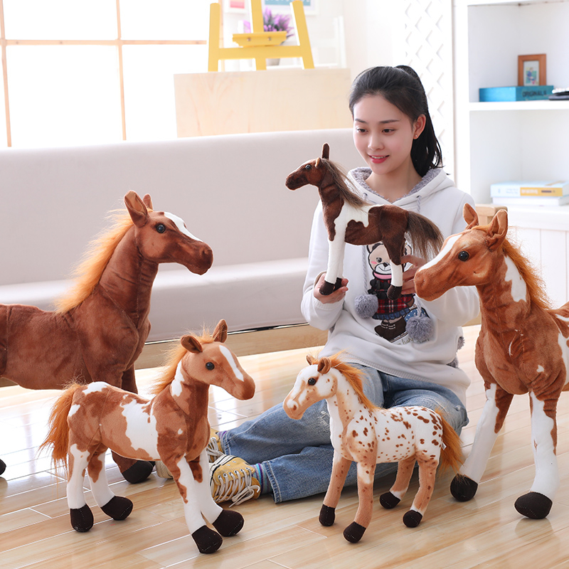 30-90cm 4 Styles Simulation Horse Plush Toy Stuffed Lifelike Animal Doll Baby Kids Christmas Gift Home Shop Decor Triver Toy