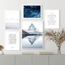 Mountain Poster Landscape Wall Print Art Feather Bird Pictures Life Quote Posters And Prints Abstract Painting Living Room Decor