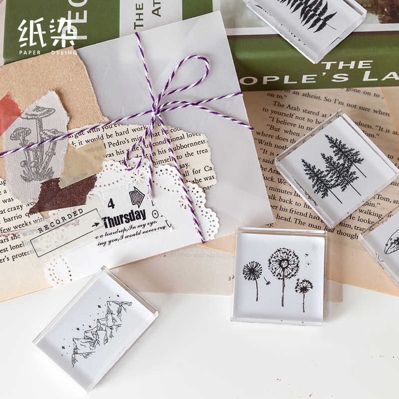 Vintage Hutan Cap Tanaman Daun Gunung Akrilik Stempel untuk Scrapbooking Alat Tulis Scrapbooking DIY Kerajinan Standar Stamp