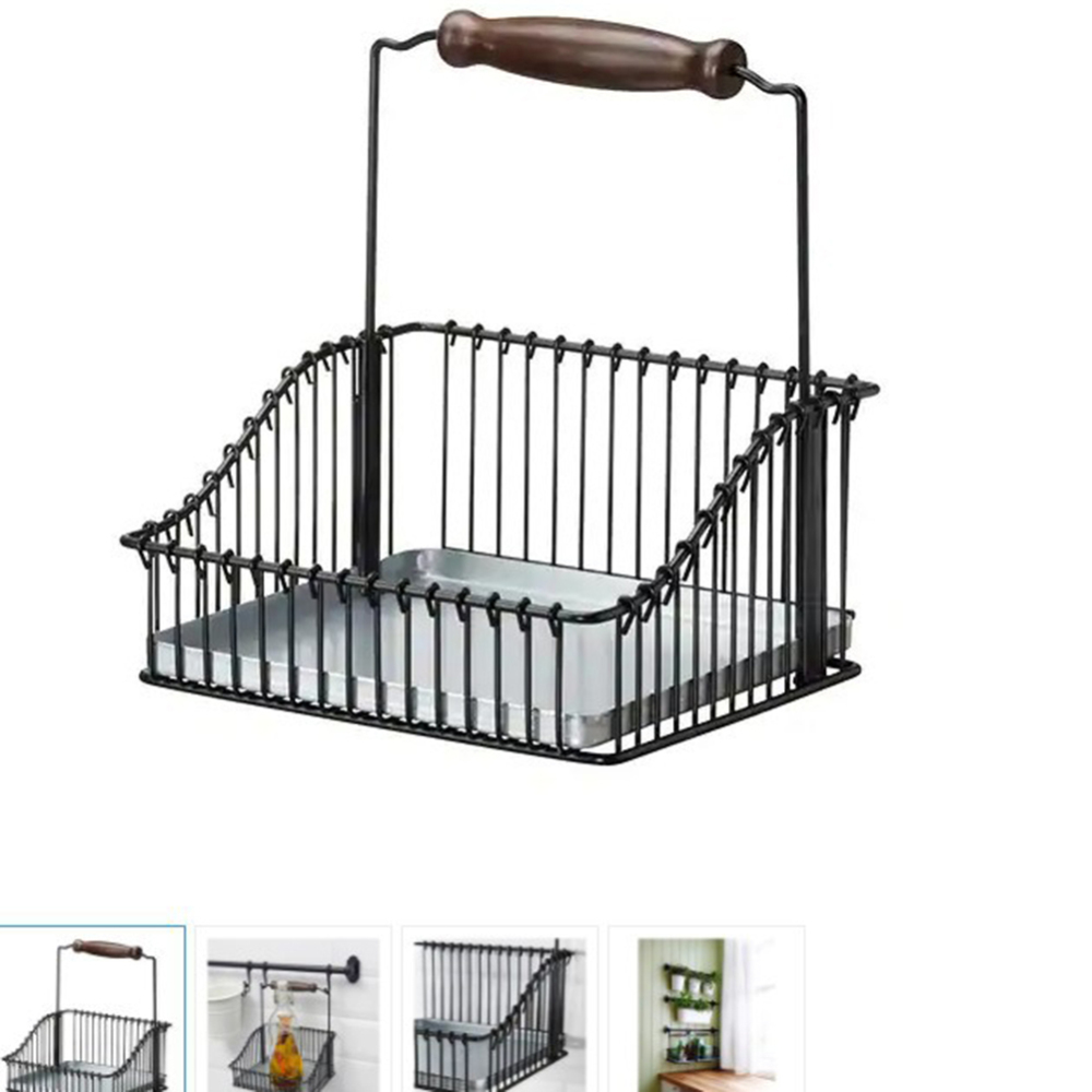 Multi-function Kitchen Storage Basket Stainless Steel Bathroom Shampoo Rack with Handle Home Tool
