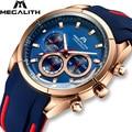 MEGALITH  модные мужские часы  Топ бренд  роскошные спортивные водонепроницаемые часы с хронографом  светящиеся часы  бизнес часы  Relogio Masculino 8049