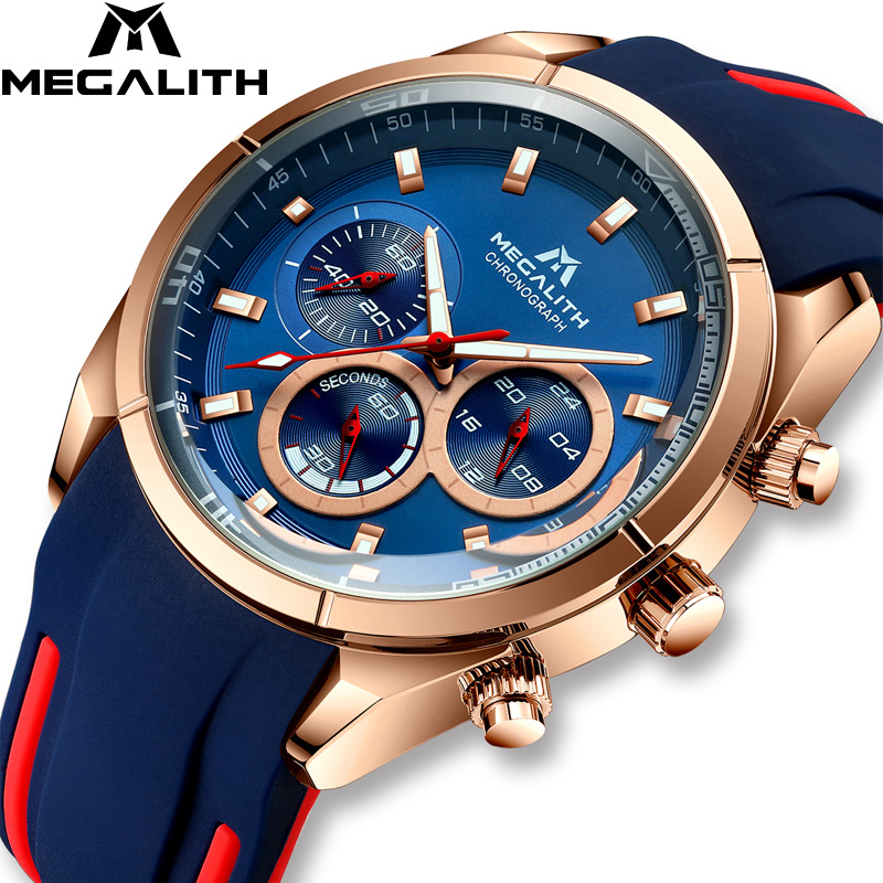 MEGALITH Fashion Men Watches Top Brand Luxury Sports Waterproof Chronograph Luminous Watch Clock Business Relogio Masculino 8049