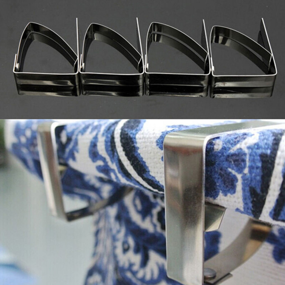 4PCS Simple Stainless Steel Tablecloth Tables Cover Clips Holder Cloth Clamps Party Picnic Office Clips