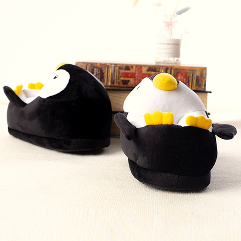 Kids Winter Home Cotton Shoes Soft Non-slip Fluffy Slippers Cute Cartoon Plush Slippers women Animals Penguin Indoor Shoes 2