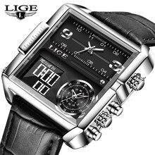 LIGE Digital – montre-bracelet en cuir pour hommes, marque de luxe, Sport, Quartz, mode, militaire, étanche, chronographe + boîte