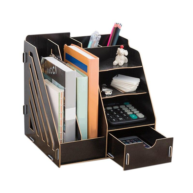 Ev ve Bahçe'ten Ev Ofis Depolama'de Yaratıcı DIY ofis malzemeleri masa üstü organiser kitaplık A4 çekmece klasörü raf dosya tepsisi masa düzenleyici siyah title=