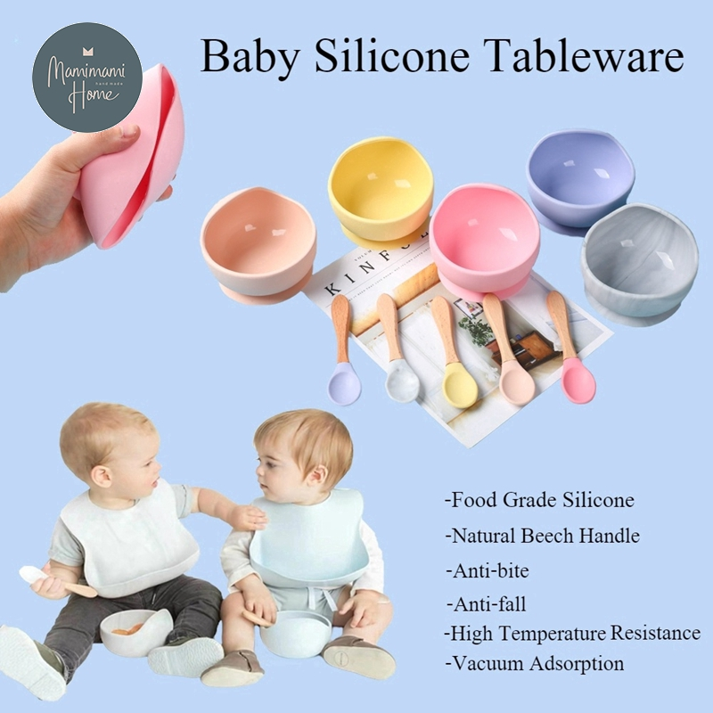 1set Silicone Baby Feeding Set Waterproof Spoon Non-Slip Feedings Silicone Bowl Tableware Baby Product Baby Plate Children Goods