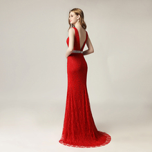 red evening dress, formal lace v-neck cheap dress