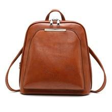 Vintage Oil Wax Leather Backpack Women Travel Satchel Casual Shoulder School Bagpack Female Back packVintage Oil Wax Leather