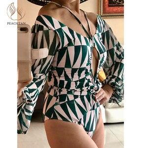 Image 2 - Peachtan V Cổ Áo Bơi Một Mảnh 2020 In Hình Đồ Bơi Nữ Rỗng Ra Bodysuits Monokini Nữ Dài Tay Áo Tắm Plus Kích Thước