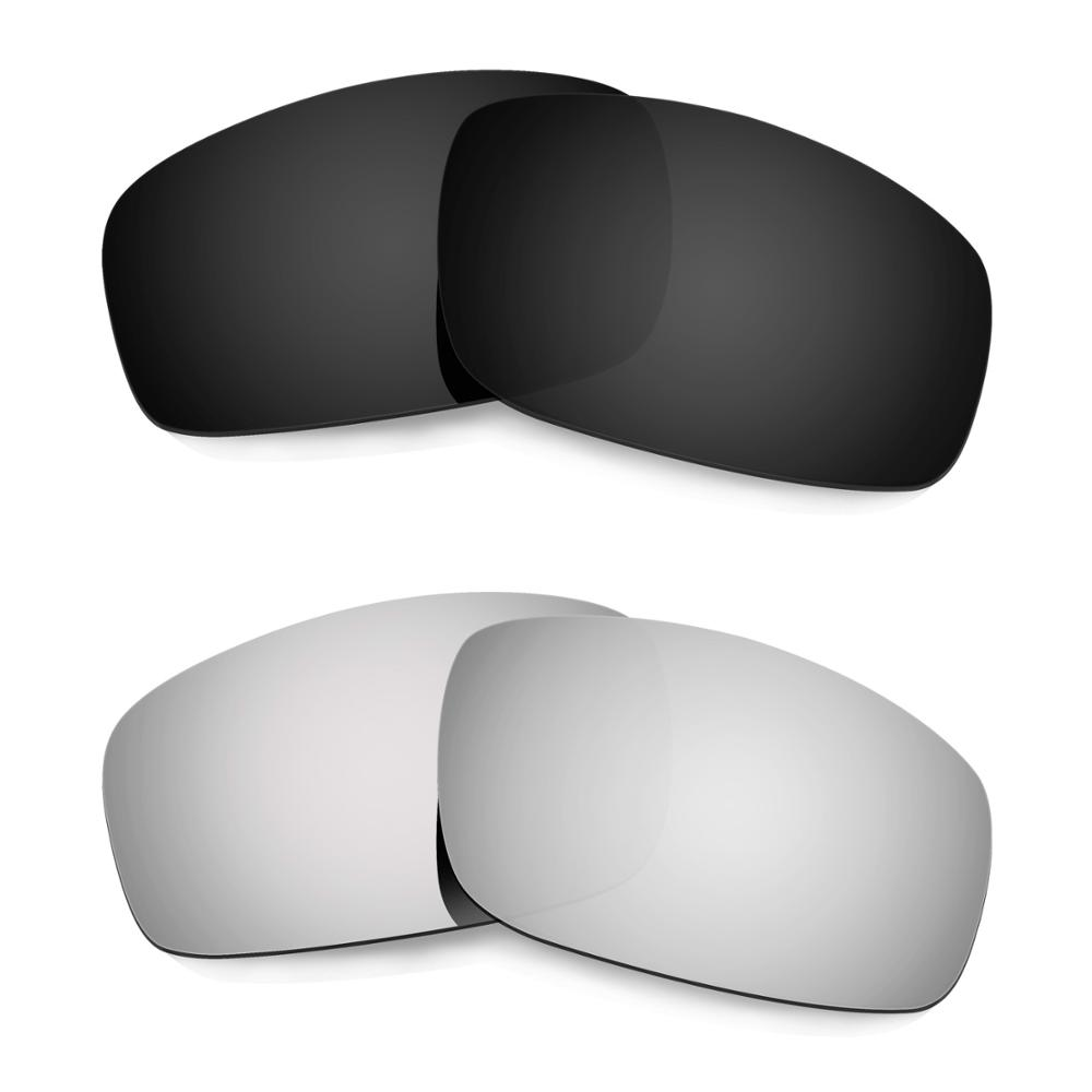 Hkuco For Monster Pup Sunglasses Polarized Replacement Lenses 2 Pairs - Black&Silver