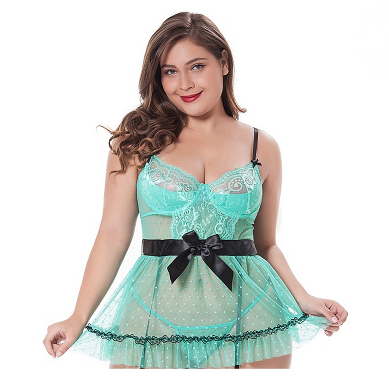 4XXL plus size night dress lace womens sleepwear push up bow nightgown v-neck lingerie mini dress green porno see-though gowns