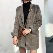2019 Autumn Plaid Suit Blazer Vintage Loose Long Sleeve Houn