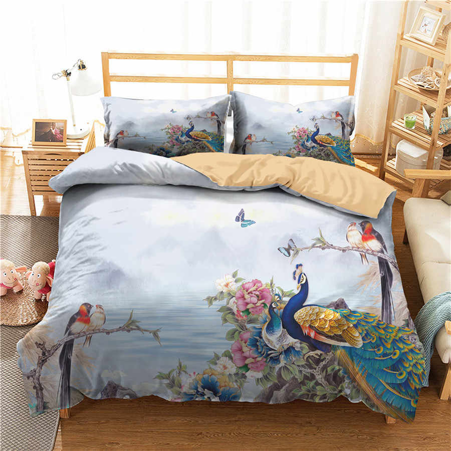 A Bedding Set 3D Printed Duvet Cover Bed Set Peacock Home Textiles for Adults Bedclothes with Pillowcase #KQ09