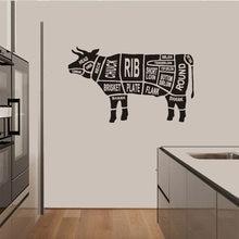 Autocollant mural en vinyle motif vache, décoration pour la cuisine, Restaurant, boucherie, découpes de corps de vache, fenêtre Poter, OV493