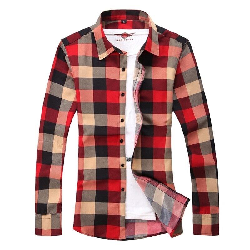 New Mens Shirts Fashion Print Plaid Dress Shirt Long Sleeve Mens Dress Shirts Business Casual Trend Large Size Camisa Masculina