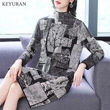 New Spirng Autumn Turtleneck Print Knitted Sweaters Dress Women Winter Long Slee