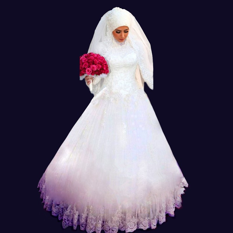 Muslim 2018 Glitter Brides Bridal Gown Crystal Beaded Lace Applique High Neck Long Sleeve Turkey Mother Of The Bride Dresses