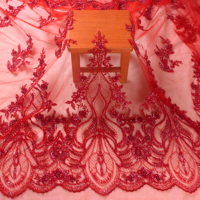 New fashion red guipure lace beads with beads on netting embroidered wedding dress/evening dress lace fabric by yard