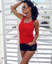 2019 Summer Hot Selling Women's Burning Flowers Sleeveless Crew Neck Slim Fit T-shirt Vest Hollow out Tops