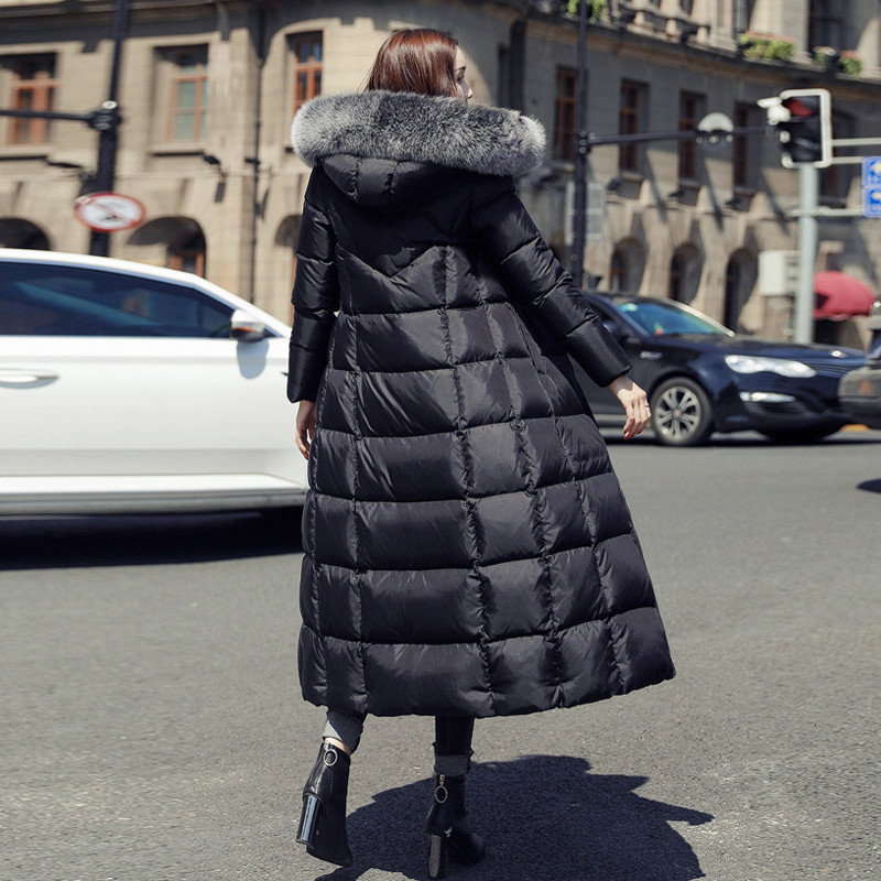 2019 Plus Size White Duck Down Jacket Raccoon Fur Fashion Winter Parka Long Thick Warm Goose Feather Coat Woman Clothing DD077 - 2