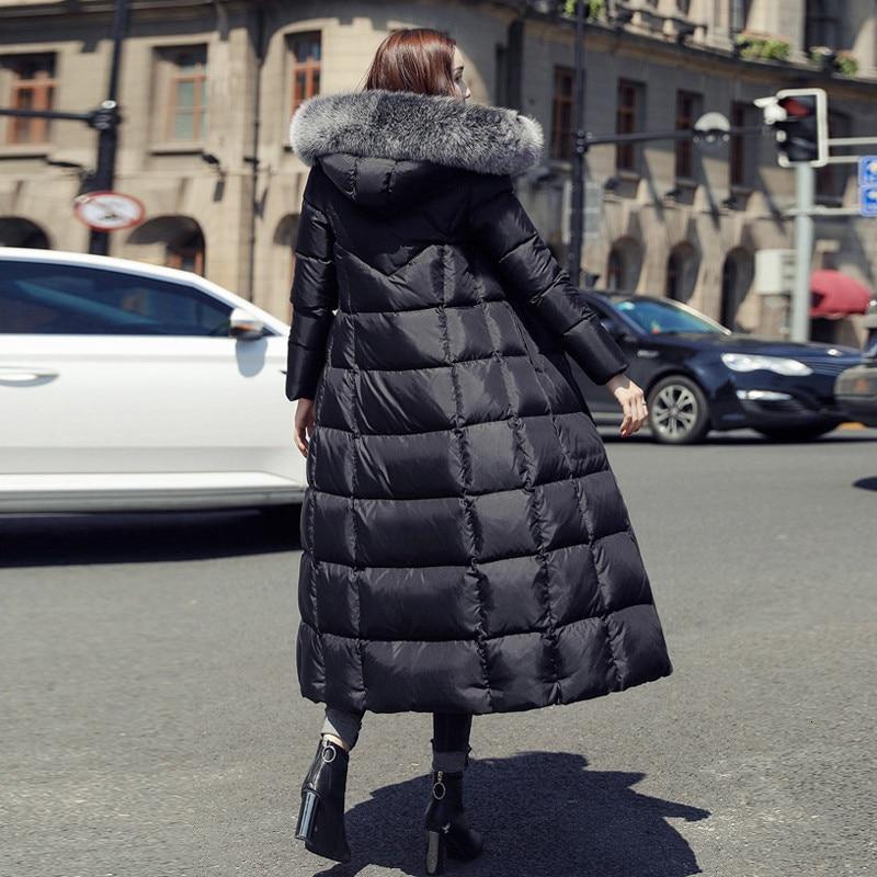 2019, плюс размер, белая куртка на утином пуху, мех енота, модная зимняя парка, длинная, толстая, теплая, гусиное перо, пальто, женская одежда, DD077 - 2