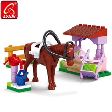 AUSINI Horse Stable Building Blocks Friends Girls Figure Bricks Toys for Children DIY Model Creator Educational Kids Playthings 217pcs original girls legoelieds friends emmas horse trailer building blocks for kids sunshine ranch bricks construction toys 3