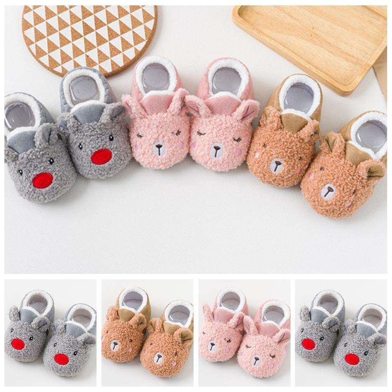 Baby Shoes Prewalker Toddler Baby Crawling Shoes Newborn Boy Girl Lamb Slippers Trainers Fur Winter Cartoon Animal First Walker