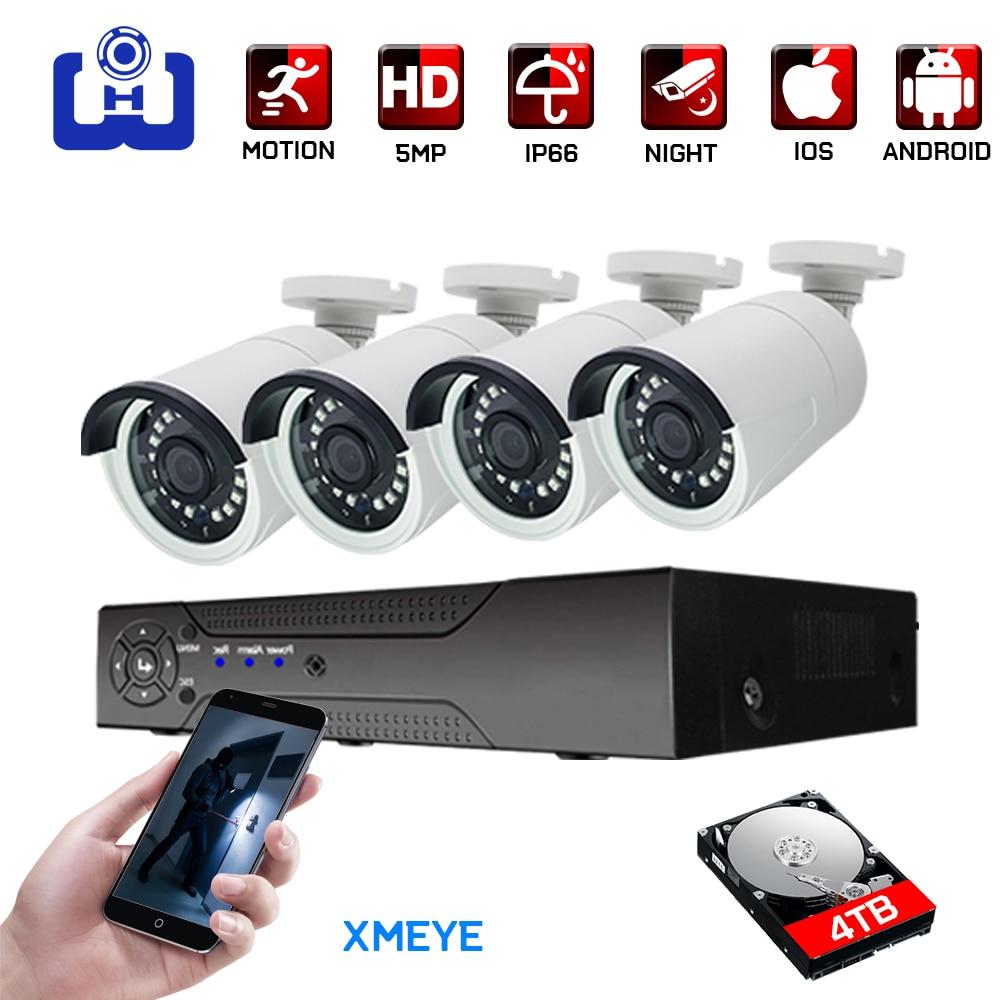 4ch 5MP AHD Kits CCTV System CCTV Security Hybrid DVR Outdoor Metal Bulllet AHD Camera Surveillance Video P2P XMEYE 5MP KITS