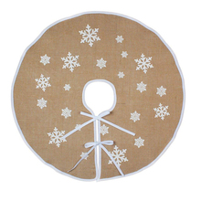 48inch Snowflakes Christmas Tree Skirt Retro Style Beige Xmas Skirts with White Liner Merry Decorations for Home