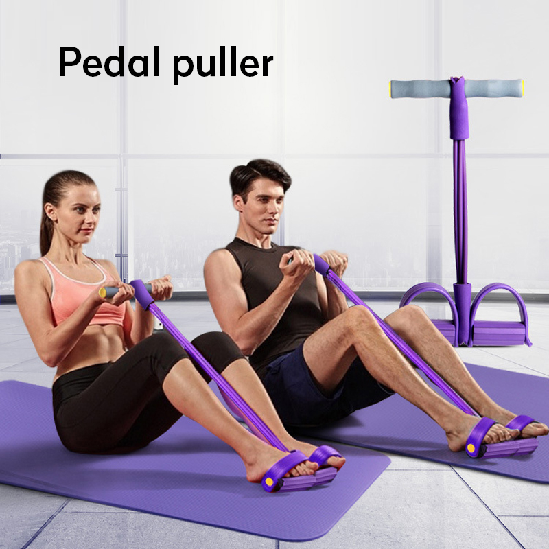 Indoor Fitness Resistance Bands Exercise Equipment Elastic Sit Up Pull Rope Gym Workout Bands Sport 4 Tube Pedal Ankle Puller