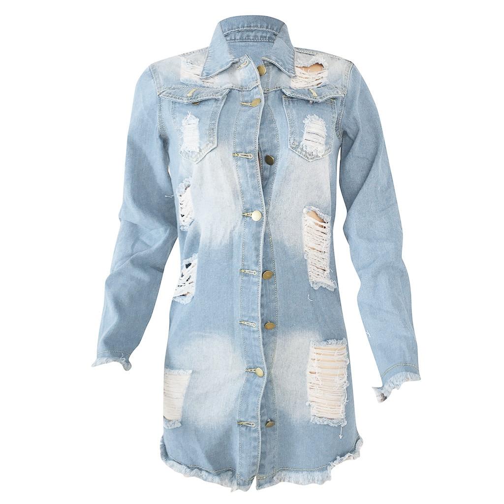 Women/'s Ripped Long Denim Coats Jeans Overcoat Ladies Casual Jacket Outwear 2019