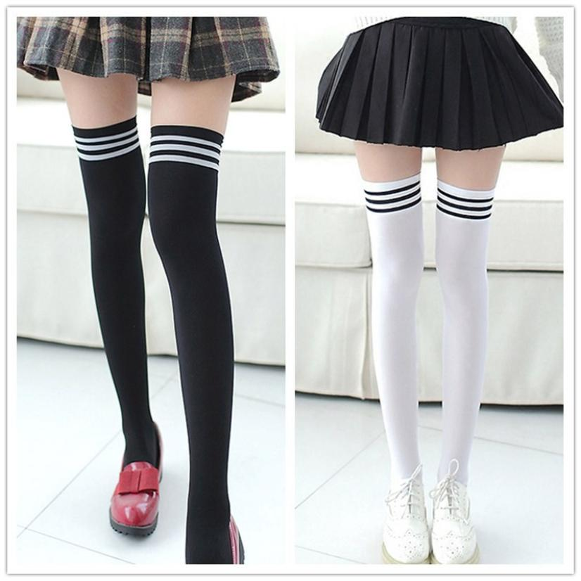 Sexy Medias Fashion Striped Knee Socks Women Cotton Thigh High Over The Knee Stockings For Ladies Girls 2019 Warm Long Stocking